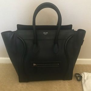 Authentic Blk Celine Mini Luggage, drummed leather